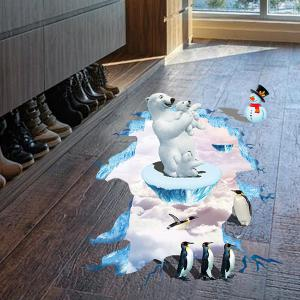 Creative Removable 3D Polar Bear Penguins Bedroom Kindergarten Floor Sticker - COLORMIX