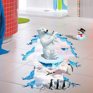 Amovibles 3D Polar Bear Penguins Chambre Sticker Kindergarten Superficie Creative - Multicolore