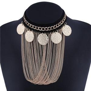 Disc Fringe Chain Drape Metal Necklace Set -