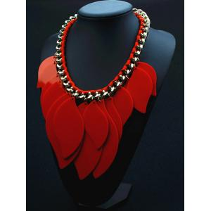 Geometry Leaves Statement Necklace - RED