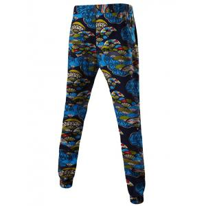 Mid-Rise Folding Fan Print Linen Drawstring Jogger Pants - BLUE XL