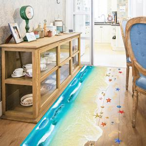 Creative Removable 3D Beach Toilet Floor Sticker - COLORMIX