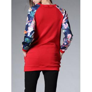 Long Floral Thickening Sweatshirt - RED 3XL