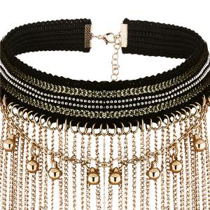 Beaded Longline Alloy Chain Necklace Set -