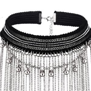 Beaded Long Alloy Chain Necklace Set -