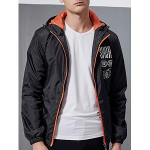 Letter Printed Zip-Up Hooded Jacket -
