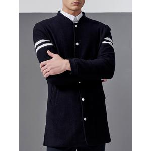 Stand Collar Button Up Striped Sleeve Coat -