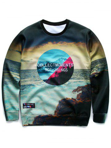 New 3D Letter and Sea Print Round Neck Long Sleeve Sweatshirt COLORMIX XL