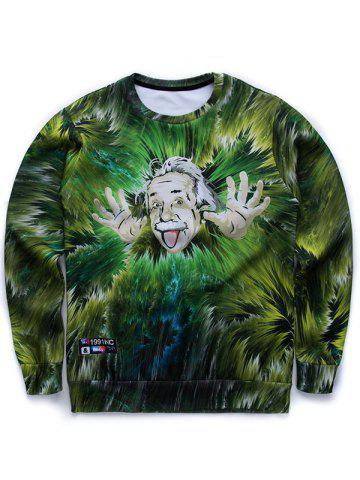 Buy 3D Jungle and Einstein Print Round Neck Long Sleeve Sweatshirt GREEN XL