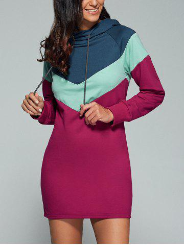 Fashion Geometric Splicing Long Sleeve Dress COLORMIX XL