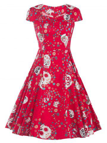 Latest Retro Skull Printed Flare Dress RED 2XL