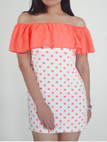 Store Flounced Polka Dot Overlay Dress