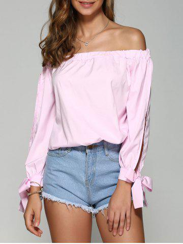 Fancy Off the Shoulder Bowknot Long Sleeve Blouse