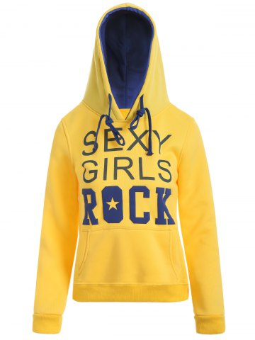 New Drawstring Sexy Girls Printed Hoodie YELLOW XL