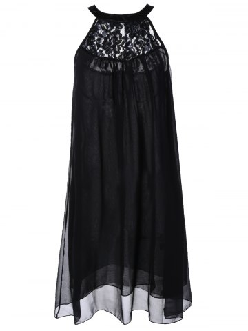 Cheap Sleeveless Lace Splicing Chiffon Dress