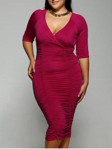 Fancy Plus Size Surplice Ruched Dress