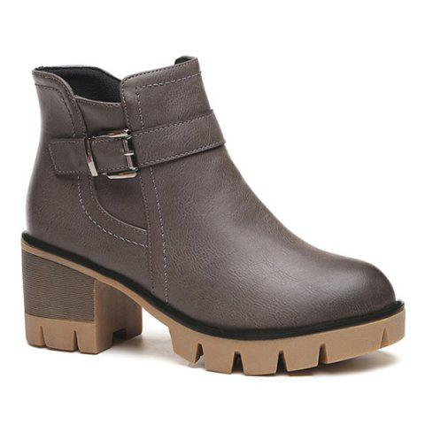New Platform Belt Buckle Zip Ankle Boots