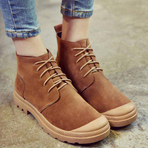 Fashion Tie Up Flat Heel Splicing Ankle Boots