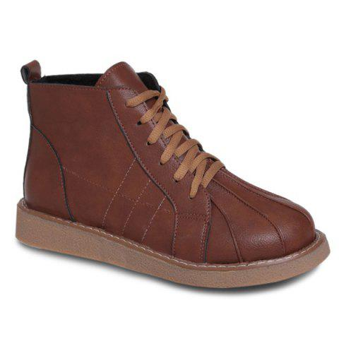 Buy Lace Up Stitching Flat Heel Ankle Boots BROWN 39