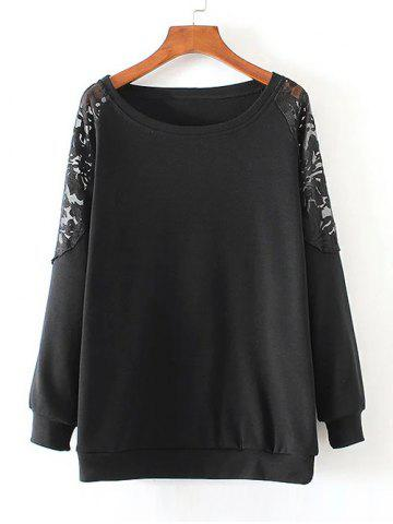 Buy Lace Patchwork Pullover Sweatshirt BLACK 4XL