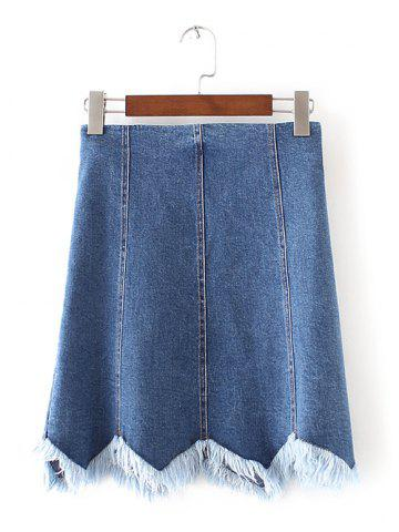 Outfits Wave Cut Frayed Denim Mini Skirt