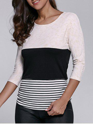 Cheap Striped and Ribbed T-Shirt