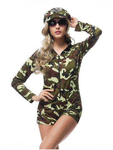 Best Army Officer Costume Camouflage Halloween Cosplay Romper