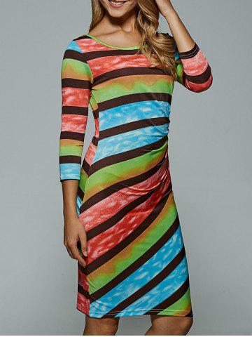 Buy Colorful Stripe Bodycon Dress