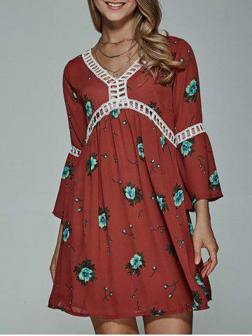 New Bell Sleeve Floral Print Dress