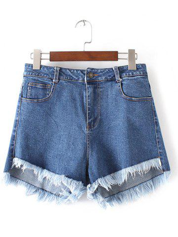Online Frayed Fringed Furcal Denim Shorts