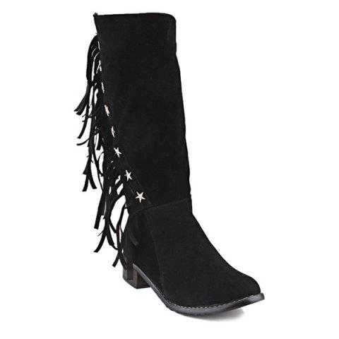 New Metal Stars Fringe Zipper Mid Calf Boots