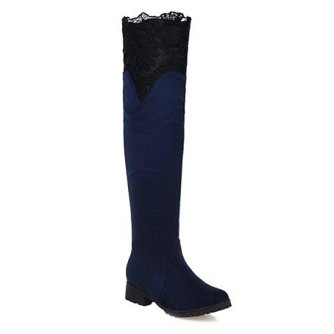Cheap Splicing Suede Embroidery Thigh Boots DEEP BLUE 43