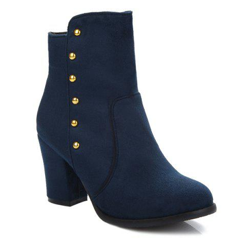 Cheap Suede Dome Stud Zipper Ankle Boots