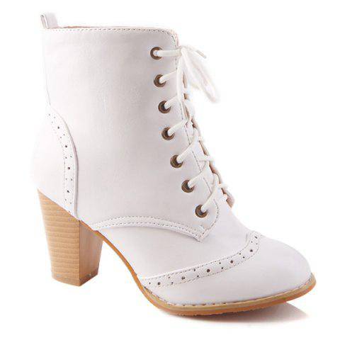 Latest Chunky Heel Engraving Tie Up Ankle Boots