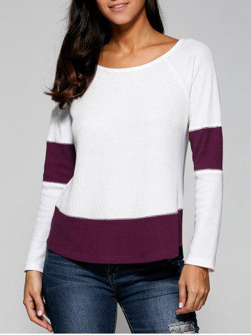 Fancy Raglan Sleeve Ribbed Blouse