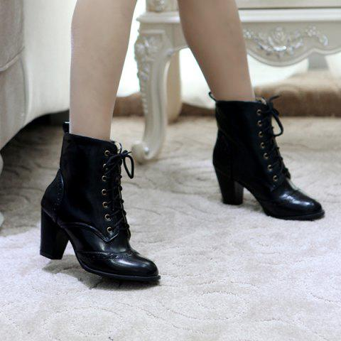 Shops Chunky Heel Engraving Tie Up Ankle Boots - 42 BLACK Mobile