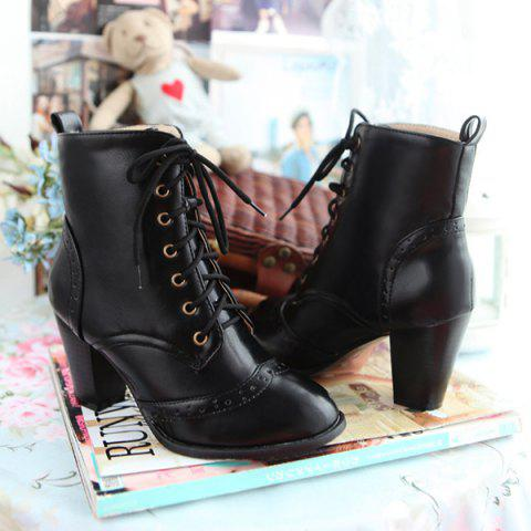 Outfit Chunky Heel Engraving Tie Up Ankle Boots - 42 BLACK Mobile
