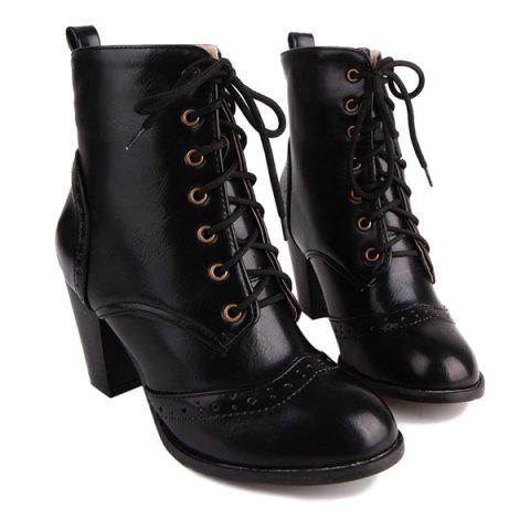 Best Chunky Heel Engraving Tie Up Ankle Boots