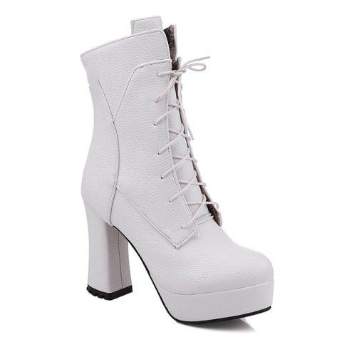 Buy Platform Textured Leather Lace-Up Short Boots WHITE 41