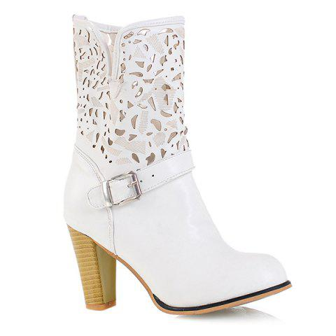 Store Buckle Engraving PU Leather Boots WHITE 43