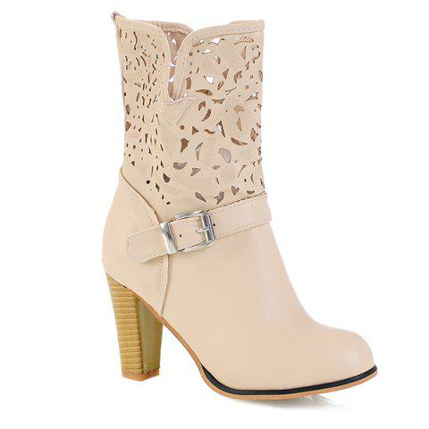 New Buckle Engraving PU Leather Boots APRICOT 38
