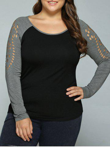 Affordable Plus Size Hollow Out Raglan Sleeve T-Shirt BLACK/GREY XL