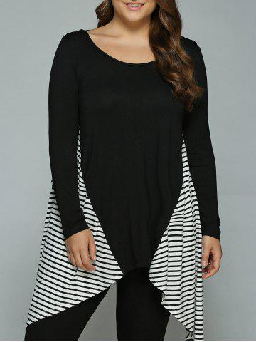 Online Plus Size Striped Loose Fitting Asymmetrical Blouse WHITE AND BLACK XL
