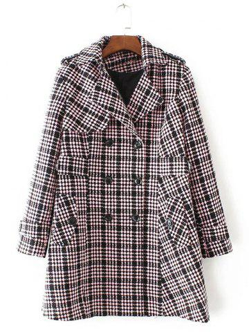 Plus Size Plaid Double Breasted Long Wool Coat - Light Pink - 2xl