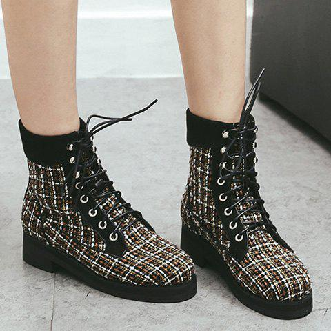 Online Color Block Plaid Pattern Tie Up Ankle Boots BLACK 38