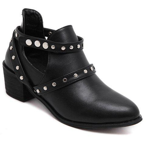 Discount Pointed Toe Studded Strap Snap Closure Ankle Boots BLACK 39