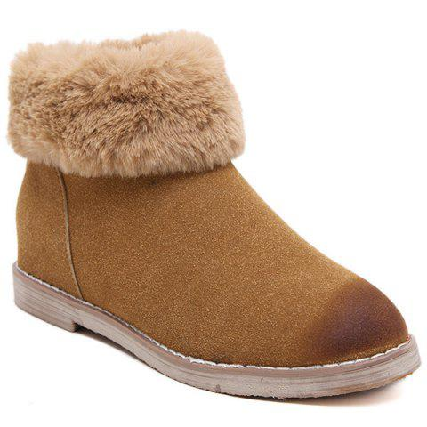 Chic Flat Heel Faux Fur Zipper Snow Boots