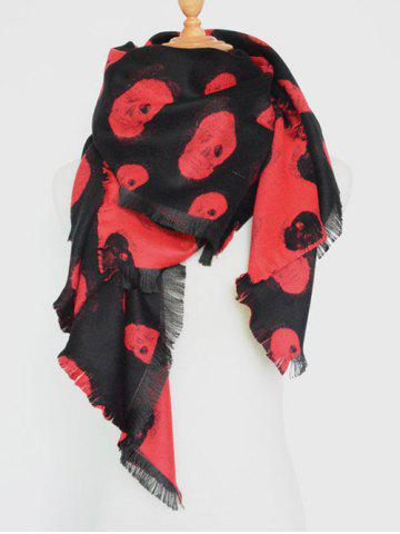 Fancy Winter Fringed Edge Skull Shawl Wrap Scarf RED