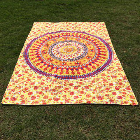Unique Ethnic Round Totem and Flower Print Long Scarf LIGHT YELLOW