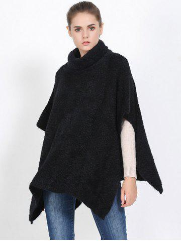 Hot Streetwear High Neck Sweater Cape Poncho BLACK